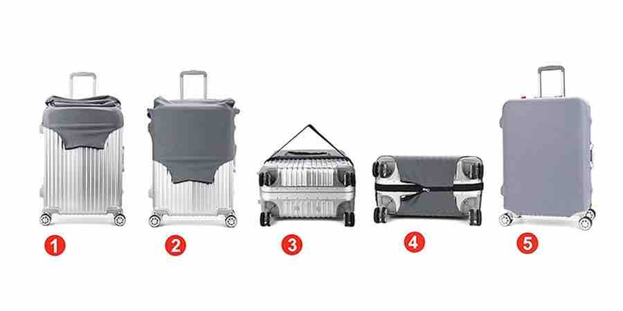 Cómo colocar la funda para maleta., fundas para maleta de viaje, fundas para maletas en mexico, fundas de maletas, forro para maletas de viaje